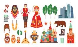 Collection de costumes nationaux russes, attributs, bâtiments d'isolement sur le fond blanc - matryoshka, balalayka illustration libre de droits