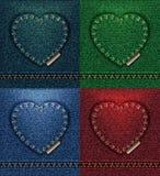 Collection de couleur de carte de voeux de coeur de jeans, denim de texture de tissu, je t'aime vecteur vert rouge 4 de pétrole b image stock
