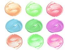 Collection de couleur crème cosmétique d'isolement sur le fond blanc Photos libres de droits