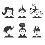 Collection de coupes de cheveux futuristes folles Image libre de droits