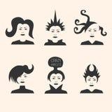 Collection de coupes de cheveux futuristes folles Photographie stock