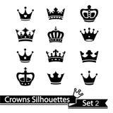 Collection de couronne - silhouette de vecteur Image stock