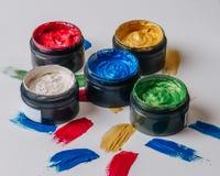 Collection de courses acryliques abstraites de brosse Photographie stock libre de droits