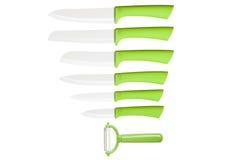 Collection de couteaux de vert de cuisine - image courante Photographie stock libre de droits