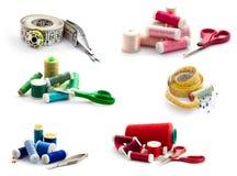 Collection de couture d'outils D'isolement sur le blanc Photo stock