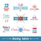 Collection de couture de pictogrammes de labels illustration de vecteur