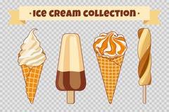 Collection de crème glacée au fond transparent La crème glacée, les cônes de gaufre et le fruit lumineux colorés glacent cartoon Image libre de droits