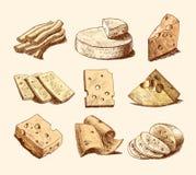 Collection de croquis de fromage illustration stock