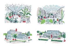 Collection de croquis de grandes serres chaudes complètement des plantes tropicales Ensemble de dessins rugueux des serres avec l Photos libres de droits