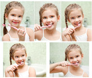 Collection de dents de brossage mignonnes de sourire de petite fille de photos photographie stock libre de droits