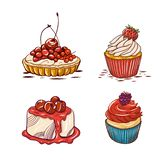 Collection de dessert Icônes de vecteur de style de bande dessinée Illustration de vecteur illustration stock
