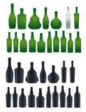 Collection de différentes bouteilles de silhouette Photographie stock libre de droits