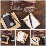 Collection de différentes choses à la maison sur le fond en bois Photo stock