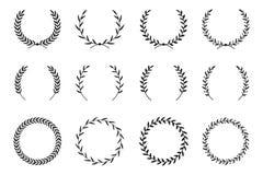Collection de différentes guirlandes de laurier Cadres ronds de vecteur tiré par la main pour des invitations, des cartes de voeu Photo stock