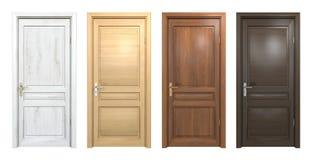 Collection de différentes portes en bois sur le blanc Image stock