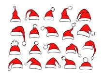 Collection de différents chapeaux de Noël de Noël de Santa de shpes dans la couleur blanche noire rouge illustration stock