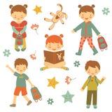 Collection de différents enfants Photos libres de droits