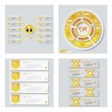 Collection de 4 dispositions jaunes de calibre/graphique ou de site Web de couleur Fond de vecteur Image libre de droits