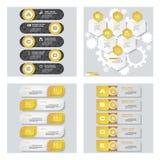 Collection de 4 dispositions jaunes de calibre/graphique ou de site Web de couleur Fond de vecteur Image stock