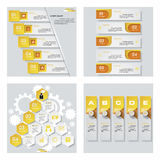 Collection de 4 dispositions jaunes de calibre/graphique ou de site Web de couleur Fond de vecteur Photos stock