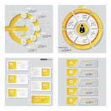 Collection de 4 dispositions jaunes de calibre/graphique ou de site Web de couleur Fond de vecteur Photographie stock