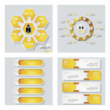 Collection de 4 dispositions jaunes de calibre/graphique ou de site Web de couleur Fond de vecteur Image libre de droits