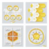 Collection de 4 dispositions jaunes de calibre/graphique ou de site Web de couleur Fond de vecteur Image stock