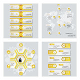 Collection de 4 dispositions jaunes de calibre/graphique ou de site Web de couleur Fond de vecteur Images libres de droits