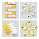 Collection de 4 dispositions jaunes de calibre/graphique ou de site Web de couleur Fond de vecteur Images stock