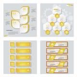 Collection de 4 dispositions jaunes de calibre/graphique ou de site Web de couleur Fond de vecteur Photographie stock libre de droits