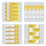 Collection de 4 dispositions jaunes de calibre/graphique ou de site Web de couleur Fond de vecteur Images stock