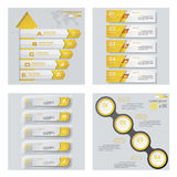 Collection de 4 dispositions jaunes de calibre/graphique ou de site Web de couleur Fond de vecteur Photos libres de droits