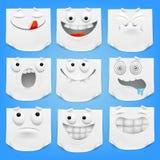 Collection de divers papier de note blanc de personnages de dessin animé d'émoticône avec le coin courbé Image stock
