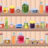 Collection de divers produit de récipient en métal de nourriture de conserves de bidons sur l'illustration de vecteur d'étagère d illustration libre de droits