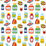 Collection de divers récipient en métal de nourriture de conserves de bidons illustration stock
