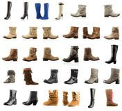 Collection de divers types bottes Photographie stock