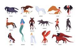 Collection de diverses créatures mythiques magiques d'isolement sur le fond blanc Paquet de personnages de dessin animé plats et illustration stock
