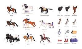 Collection de diverses démarches et d'outils de cheval pour l'équitation ou équitation d'isolement sur le fond blanc illustration libre de droits