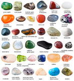 Collection de diverses pierres gemmes dégringolées avec des noms Images libres de droits