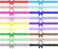 Collection de dix-huit arcs de point de polka avec des rubans Photographie stock libre de droits
