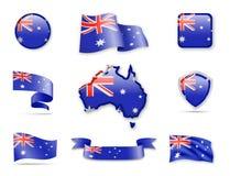 Collection de drapeau d'Australie Photographie stock