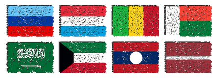 Collection de drapeaux artistiques du monde d'isolement Photo stock
