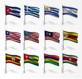Collection de drapeaux de monde sur le mât de drapeau illustration stock
