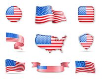 Collection de drapeaux des Etats-Unis Photographie stock libre de droits
