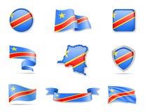 Collection de drapeaux du République démocratique du Congo L'illustration de vecteur a plac illustration libre de droits