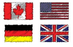 Collection de drapeaux stylisés de drapeaux Photo libre de droits