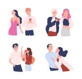 Collection de femmes et d'hommes essayant de présenter leurs coeurs à les aimés Amour non récompensé, unilatéral ou rejeté mâle illustration stock