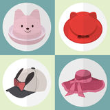 Collection de femmes mignonnes de chapeau Image stock