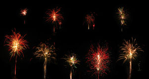 Collection de feux d'artifice d'isolement sur le fond Photographie stock libre de droits
