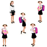 Collection de fille heureuse de sourire d'école de photos Images stock